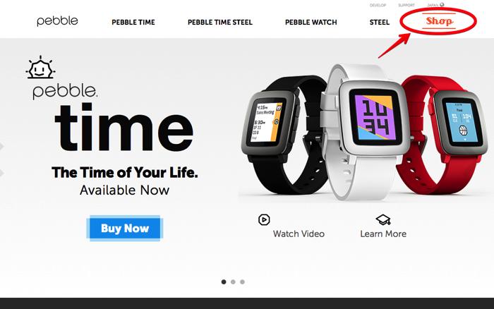pebble 公式サイト右上にショップサイトへのリンク