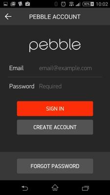 pebbleアカウントのログイン画面