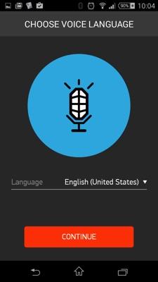 ボイスコントロール時の言語選択画面。日本語はありません。