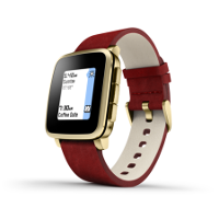 pebble time steel with red leather band イメージ