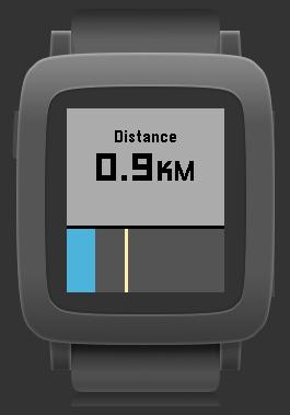 Pebble Healthの画面で中央ボタンで距離に切り替え